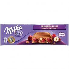 Milka Trauben-Nuss – молочный шоколад с орехами и изюмом, 300 гр.