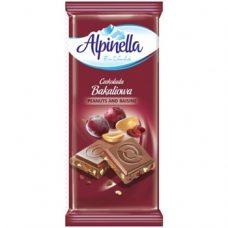 Alpinella Czekolada Bakaliowa – молочный шоколад с изюмом и орехами, 90 гр.