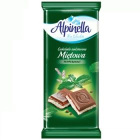 Alpinella Czekolada Mietowa – молочный шоколад с мятной начинкой, 90 гр.