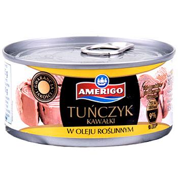 Amerigo Tunczyk Kawalki – тунец в растительном масле (кусочками), 185 гр.