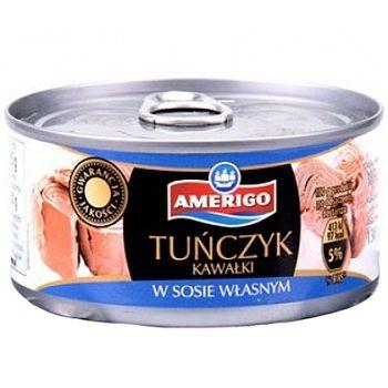 Amerigo Tunczyk – тунец в собственном соку (кусочками), 185 гр.