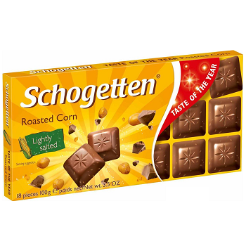 Schogetten Roasted Corn – молочный шоколад с попкорном, 100 гр.