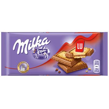 Milka LU – альпийский шоколад с бисквитом, 87 гр.