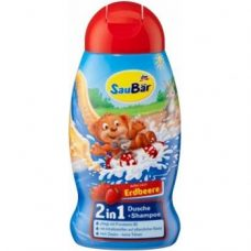 SauBar Dusche & Shampoo Erdbeere – детский шампунь и гель для душа, 250 мл.