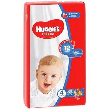 Huggies Classic 4 – детские подгузники (7-18 кг.), 50 шт.